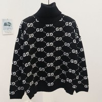 DCCKJ1A GUCCI new autumn and winter joker sweater female high collar double g letter sweater Pure black