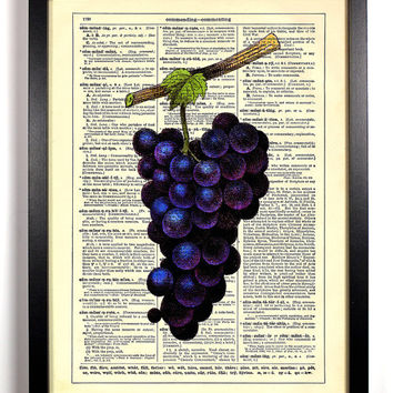 Purple Grapes Repurposed Book Upcycled Dictionary Art Vintage Book Print Recycled Vintage Dictionary Page  Buy 2 Get 1 FREE
