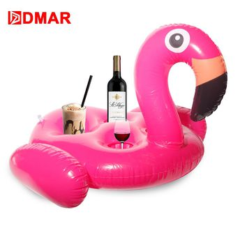 DMAR 67cm Inflatable Flamingo Drink Float Giant Pool Toys Cup Holder Swimming Ring Inflatable Mattress Decoration Water Unicorn