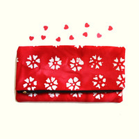 Red Fold Clutch Bag - Handemade Handbag Flower Pattern Clutch Purse - Cotton Fabric - Zipper Large Bag -  Gift for Her - READY TO SHIP