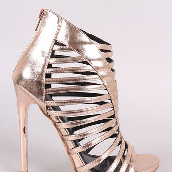 Shoe Republic LA Strappy Metallic Stiletto Heel