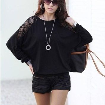 CREYUG3 Women's Fashion Women Sexy Lace Batwing Long Sleeve Loose T-Shirt Tops Blouse Pullover DZ88 3580 = 1946804868