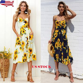 Women Boho Long Maxi Dresses Summer Evening Party Cocktail Dress Beach Sundress