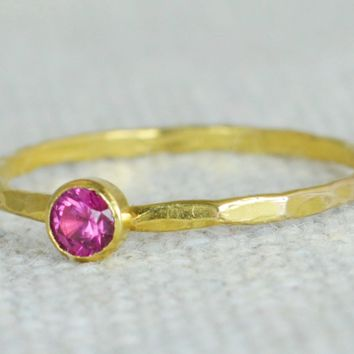 Dainty Gold Ruby Ring