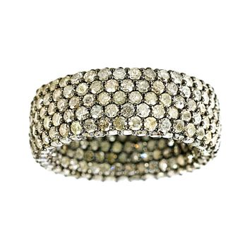 7.65tcw Pavé Champagne Diamonds in 925 Sterling Silver Eternity Band
