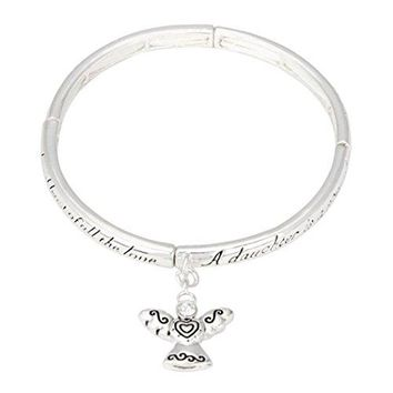 Rosemarie Collections Womens Stretch Bangle Bracelet Daughters Blessing with Angel Charm