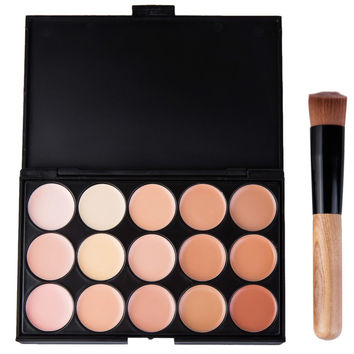 15 Colors Concealer Camouflage Makeup Palette with Brush