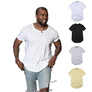 men's T Shirt Kanye West Extended T-Shirt Men clothing Curved Hem Long line Tops Hip Hop Urban Blank Justin Bieber TX135-R