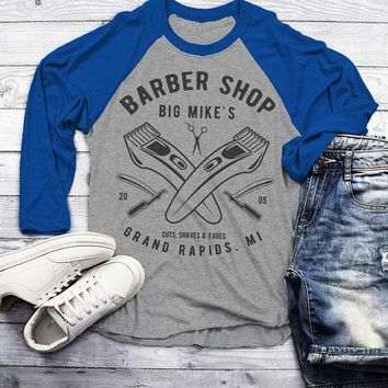 Personalized Men's Barber Clippers Raglan Barbers Shirts Vintage Custom Shirt 3/4 Sleeve