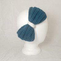 Teal Women's Crochet Ear Warmers with Bow