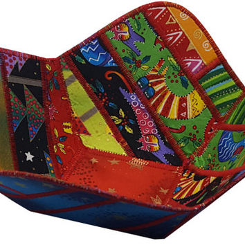 Reversible Christmas Bowl in Laurel Burch Enchantment Fabrics