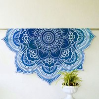 Lillye Round Blue Lotus Flower Beach Bed Wall Yoga Boho Tapestry
