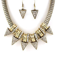 Spiked Rhinestone Necklace & Earrings Set | Avant-Garde Boutique
