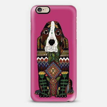 Basset Hound love fuchsia pink iPhone 6s case by Sharon Turner | Casetify