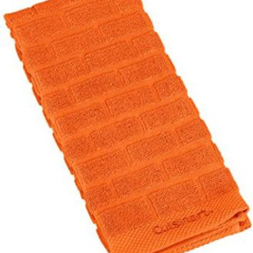 Cuisinart 100% Cotton Terry Super Absorbent Kitchen Towel, Sculpted Subway Tile, Orange