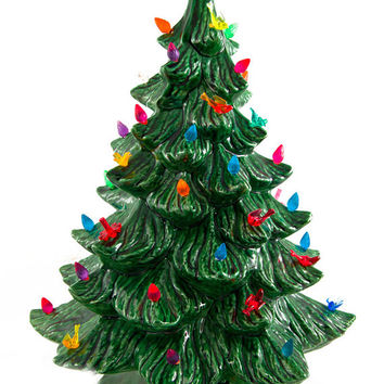 Vintage Ceramic Christmas Tree - Lights Up - with Bulbs, Birds, Flowers and Star Topper