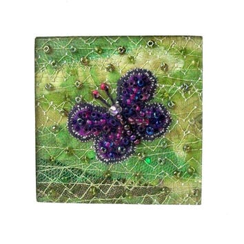 Beaded butterfly card - purple butterfly - 5 inch square card - fabric art card