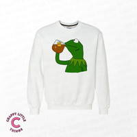 None of My Business Sweater - Sipping Tea Meme - Funny Sweater - Dank Meme Sweater - Premium Cotton Sweater - How About That