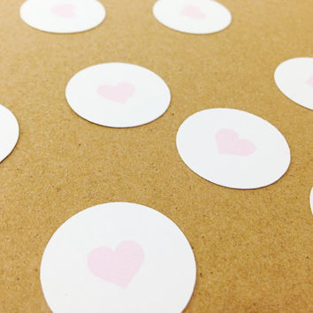 "100 Pink + White Heart Circle Confetti - 1"" - Bridal Shower, Wedding, Engagement Party, Birthday, Baby Shower, Bachelorette"