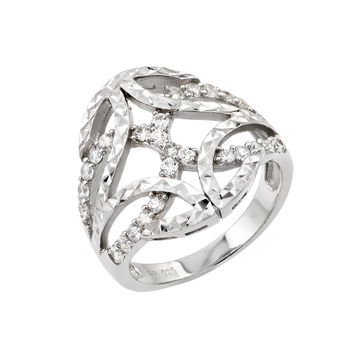 925 Sterling Silver Ladies Jewelry Ring w/ Filigree And Diamond Cut Design.Ring Center Dimensions Are 19.6mm X 20.8mm  Come In Sizes Of 5, 6, 7, 8, And 9.: Size: 5