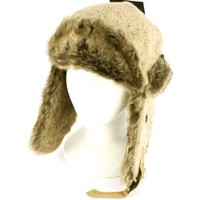 Winter Melange Knit Faux Fur Trooper Trapper Earflaps Ski Aviator Cap Hat Beige