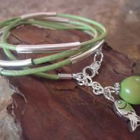 GRASS GREEN & FISH Leather Wrap Bracelet with  by AsaiBolivien $9,90