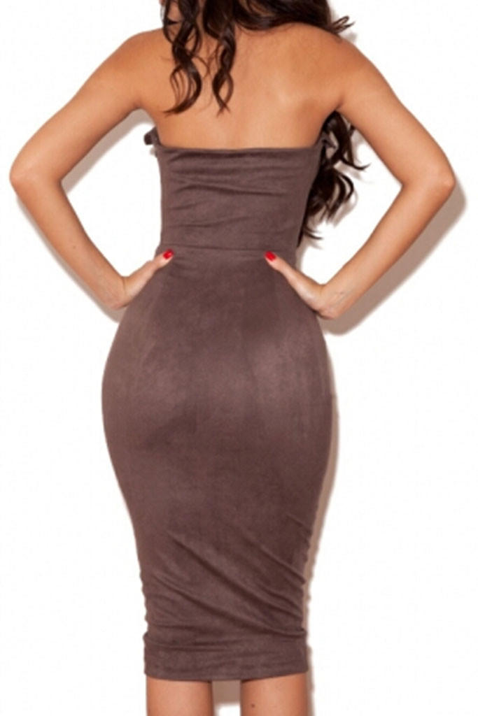 Amber Maroon Suede Dress From Krma