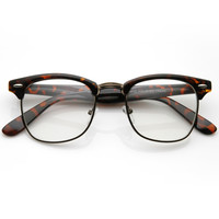 Vintage Inspired Classic Horned Rim Half Frame Clear Lens Glasses