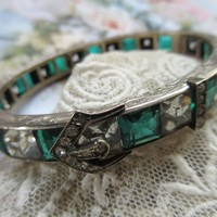 Vintage Deco 20s 30s Sterling Paste Buckle Line Bracelet