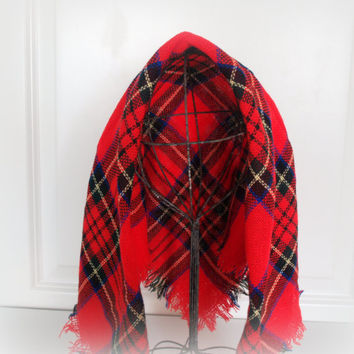 1960s VINTAGE PREPPY PLAID Scottish Print Mid Century Head Scarf - Red Tartan Plaid - Square Neck or Head Scarf