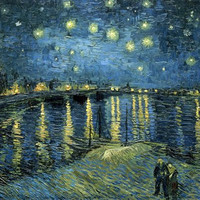 Wieco Art - Starry Night Over the Rhone by Vincent Van Gogh Oil Paintings Reproduction Modern Giclee Canvas Prints Artwork Landscape Pictures Printed on Canvas Wall Art for Home and office Decorations V0026 12 by 16 inch