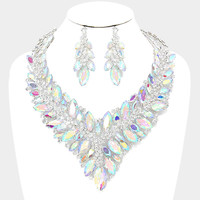 """"""" Fearless"""" Statement Iridescent Crystal Necklace Set With Clear Rhinestone Accents"""