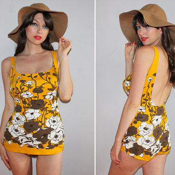 Vintage 60s GROOVY Bathing Suit / Pinup One Piece Swimsuit / Mustard Yellow, Brown, White Floral Print / Psychedelic, Retro Mod, JANTZEN/Med