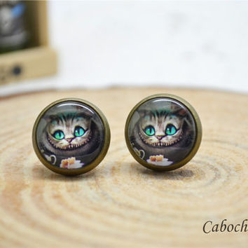 Cheshire Cat earrings,Alice in wonderland earrings, cabochon ear stud earrings (E89)