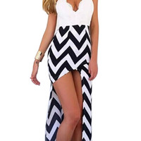 Black and White Asymmetric Chervon Print Cami Dress