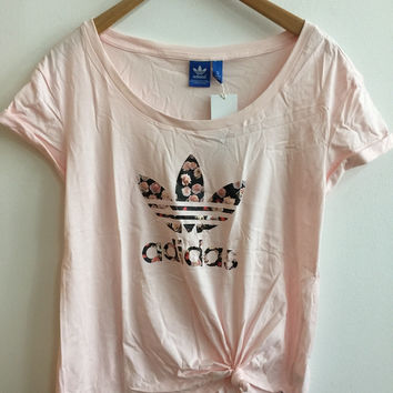"Women Fashion ""Adidas"" Print Loose T-Shirt Top Tee Pink"