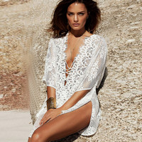 Hollow Out Lace Bikini Cover Up B007590