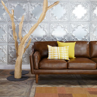 Beatnik Oxford Leather Tan Sofa | Overstock.com Shopping - The Best Deals on Sofas & Loveseats