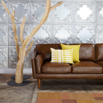 Beatnik Oxford Leather Tan Sofa   Overstock.com Shopping - The Best Deals on Sofas & Loveseats