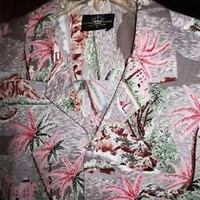 ROYAL CREATION HAWAIIAN SHIRTS VINTAGE  PALMS CASUAL COTTON!SIZE XL!MADE IN USA
