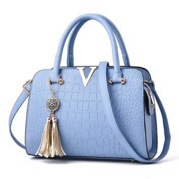 Hot Sale! Neartime Women Handbag, 2018 Woman's Tassel Crossbody Bags Leather Satchels Alligator Pattern Zipper Shoulder Bag (❤️28cm(L)×13cm(W)×20cm(H), Light blue)