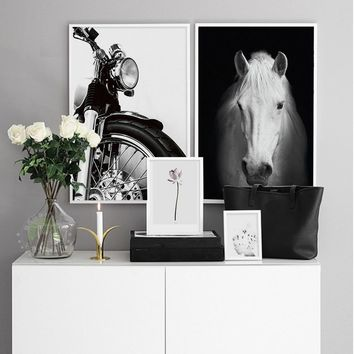 xdr023 Nordic Minimalist black white canvas painting,Horse ,Moter prints wall art painting pictures for living room
