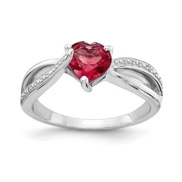 Sterling Silver 7mm Heart Created Ruby Genuine Diamond Accented Infinity Inspired Ring