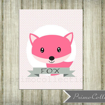 Nursery Wall Art Print / 8x10 inch / pink fox / wall art / pink and gray / for baby girl / girl's bedroom decor / fox print