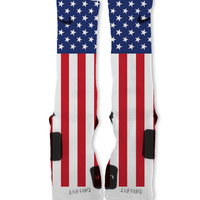 America USA Custom Nike Elite Socks Fast Shipping!! Nike Elites Customized!! Patriotic