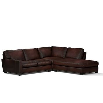 Turner Square Arm Leather 3-Piece Bumper Sectional with Nailheads