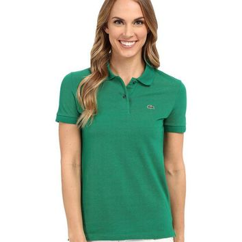 LMFGE2 Beauty Ticks Lacoste Women S Green Color Short Sleeve Pique Original Fit Polo Shirt