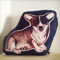 Corgi dog pillow hand printed with inkodye one of a kind ooak in navy blue and rust red colors