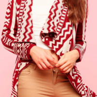 Aztec Knit Cardigan - Burgundy/Taupe FINAL SALE
