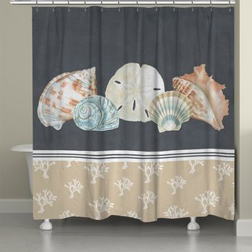 Shells on Slate Shower Curtain